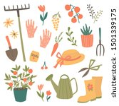 cute garden item set. vector... | Shutterstock .eps vector #1501339175