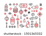 Stock vector vector set with hand draw elements in chinese style black and red icons for design elements lucky 1501365332