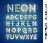 realistic glowing double neon... | Shutterstock .eps vector #1501380665
