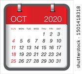 october 2020 monthly calendar... | Shutterstock .eps vector #1501418318