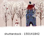 Snow Covered Courtyard With...
