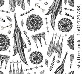 Vector boho seamless pattern. Hand drawn dream catcher, bird feather, arrows background. Black and white