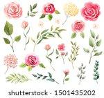 Watercolor Flowers  Leaves. Se...