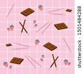 strawberry and chocolate pepero ... | Shutterstock .eps vector #1501484288