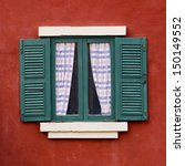 Open Window With  On  Red Wall