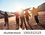 happy friends having fun and... | Shutterstock . vector #1501512125