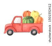Watercolor Cartoon Red Truck...