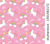 unicorn pattern. vector... | Shutterstock .eps vector #1501582172