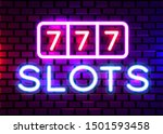 neon 777 casino slots sign.... | Shutterstock .eps vector #1501593458
