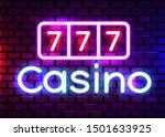 neon 777 casino slots sign.... | Shutterstock .eps vector #1501633925