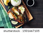 Stock photo easy grilled mackerel or saba shioyaki fish with golden crispy skin japanese dish served with rice 1501667105
