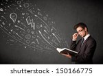 young man reading a book while... | Shutterstock . vector #150166775