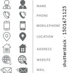 set of icons business card.... | Shutterstock .eps vector #1501671125