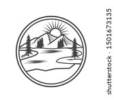 lake view line drawing logo | Shutterstock .eps vector #1501673135