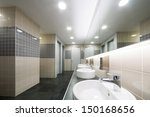 modern clean toilet decorated...   Shutterstock . vector #150168656