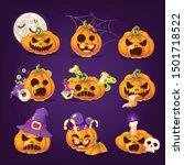 spooky halloween pumpkins... | Shutterstock .eps vector #1501718522