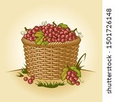 retro basket of grapes.... | Shutterstock . vector #1501726148