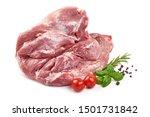 Raw pork ham, pork leg, isolated on white background.