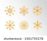 golden snowflakes set on... | Shutterstock .eps vector #1501755278