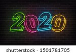 2020 new year neon background... | Shutterstock .eps vector #1501781705