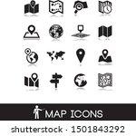 vector black map icons set.    Shutterstock .eps vector #1501843292