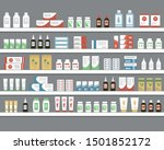 shelves with medicines. objects ... | Shutterstock .eps vector #1501852172