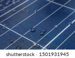 Solar Panel With Water Drops On ...