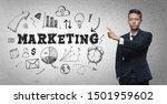 asian businessman pointing ... | Shutterstock . vector #1501959602