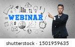 asian businessman pointing ... | Shutterstock . vector #1501959635