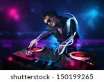 young disc jockey playing music ... | Shutterstock . vector #150199265