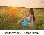 beautiful girl outdoor | Shutterstock . vector #150201902