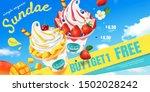 mango and strawberry sundae ads ...   Shutterstock .eps vector #1502028242