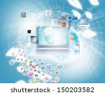 background image with laptop...   Shutterstock . vector #150203582