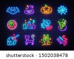 halloween neon icons set. happy ... | Shutterstock .eps vector #1502038478