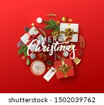 christmas greeting card with... | Shutterstock .eps vector #1502039762