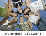 directly below shot of cheerful ... | Shutterstock . vector #150210845
