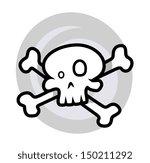 crossed skull   vector cartoon...