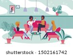 Stock vector female friendly informal meeting for refreshment and talk cartoon women people characters having 1502161742