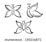 butterflies in simple line art... | Shutterstock .eps vector #150216872