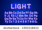neon light color blue font.... | Shutterstock .eps vector #1502218412