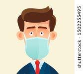 medical mask. healthy man in...   Shutterstock .eps vector #1502255495