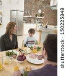 happy parents with son having...   Shutterstock . vector #150225848