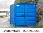 One Blue Cargo Container At...