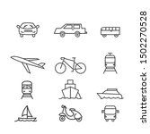 transport vector icons set thin ... | Shutterstock .eps vector #1502270528