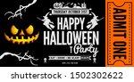 halloween party ticket or... | Shutterstock .eps vector #1502302622