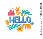 hello hand drawn lettering with ... | Shutterstock .eps vector #1502341388