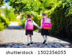 back view of a two school girls ...   Shutterstock . vector #1502356055
