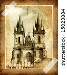 old Prague (vintage photoalbum series) - stock photo