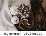 Coffee Cup With Flowers And...