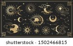 asian set with clouds  moon ... | Shutterstock .eps vector #1502466815